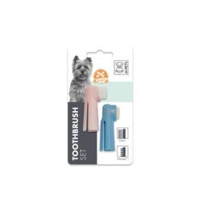 M-Pets Tandenborstel set 6 cm roze/blauw
